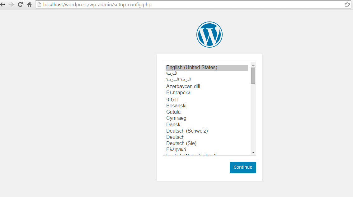 Install WordPress From Browser Preview: WordPress_Open