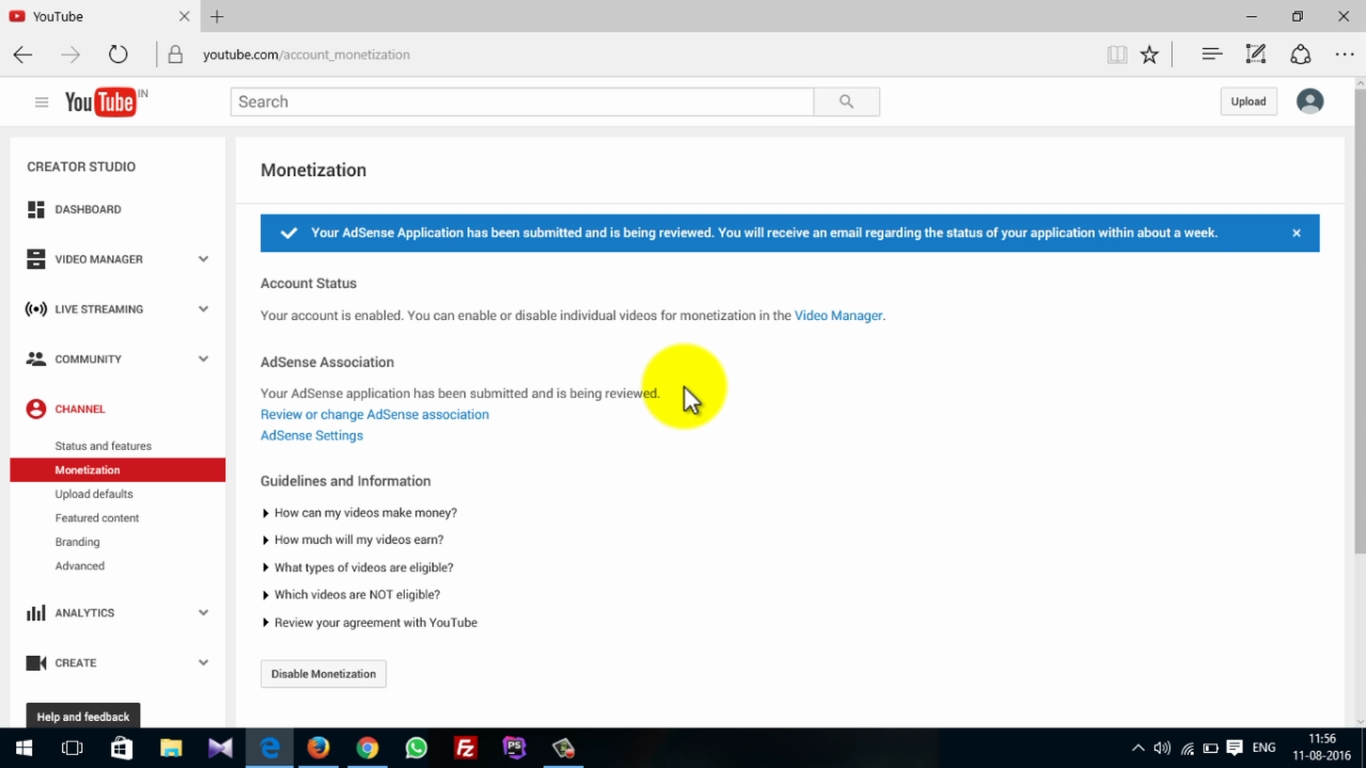 How To Activate Adsense On Youtube 13