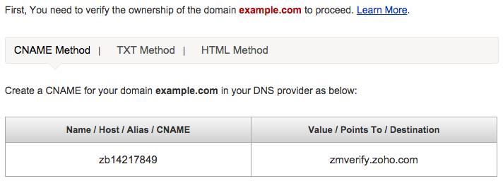 Zoho Domain Verify
