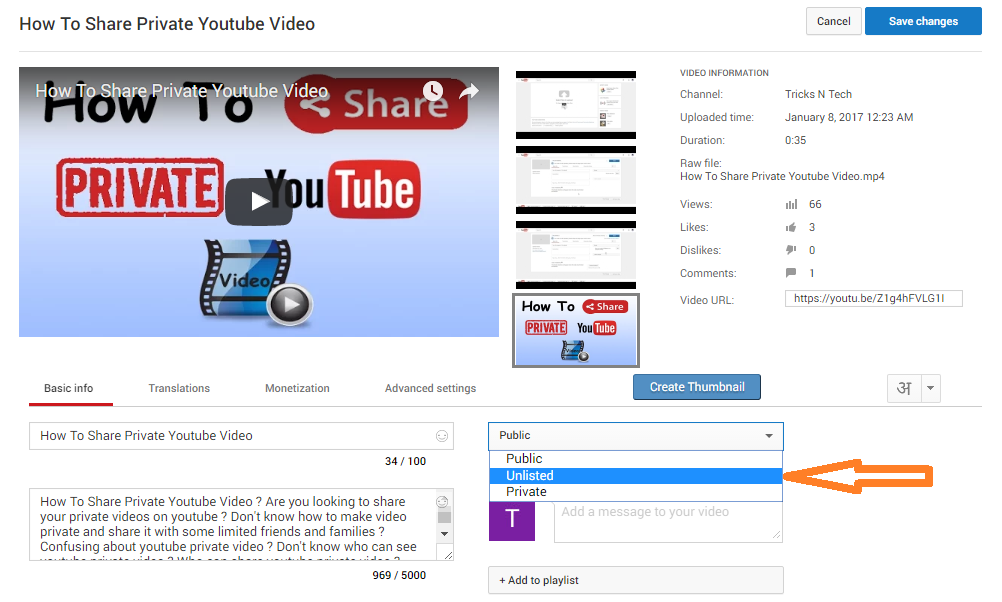 how to make unlisted youtube video