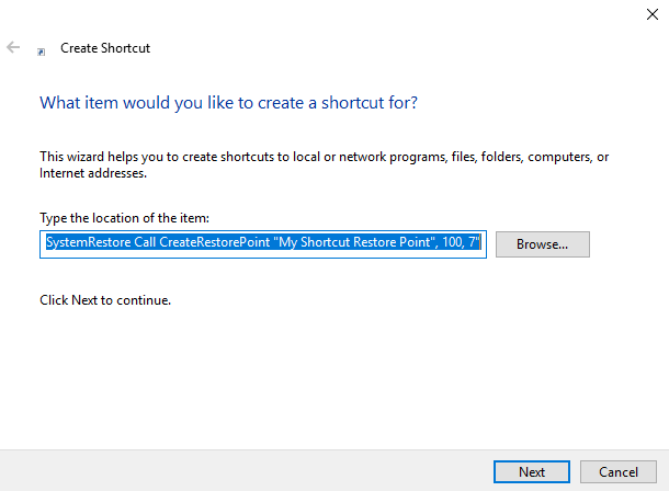 Enter command to create Double Click System Restore Point
