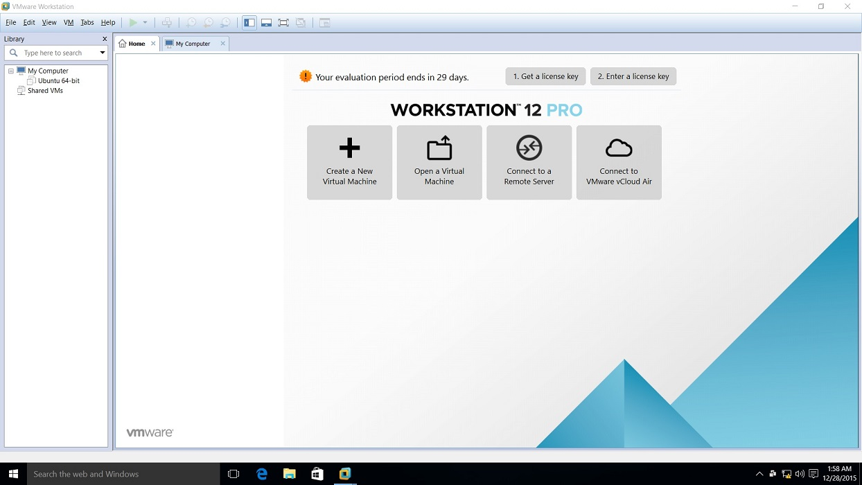 vmware workstation 12 pro start screen