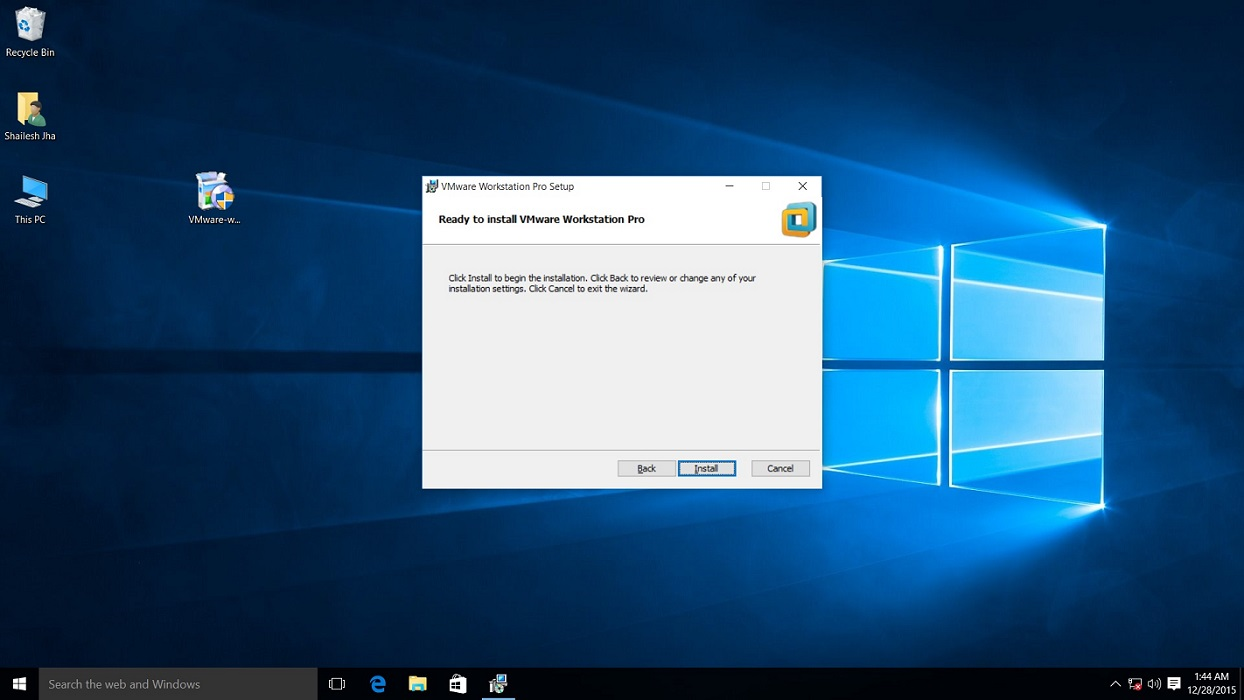 vmware workstation 12 pro installation begin confirmation dialog box