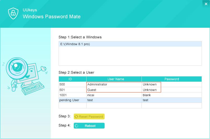 UUKeys Windows Password Mate Reset Password