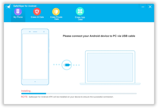 Connect Android Device to PC in SafeWiper Tool