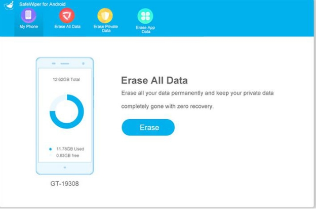 Erase All Data in SafeWiper Tool