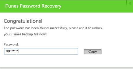 iTunes Password Recovery Password Found