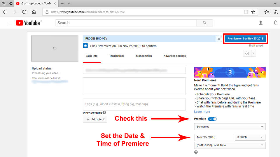 Set Youtube Premiere