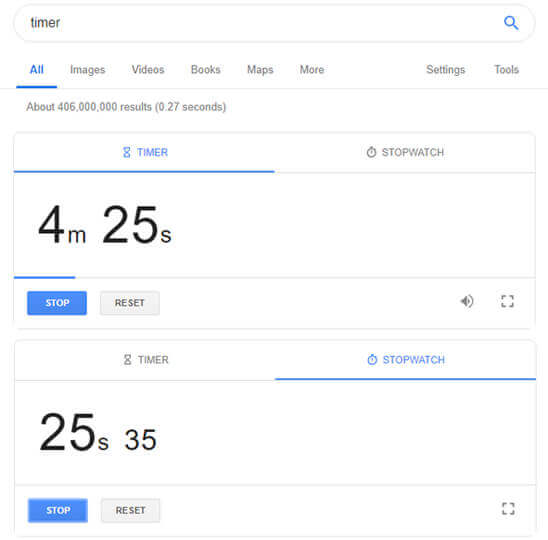 Google Timer Stopwatch