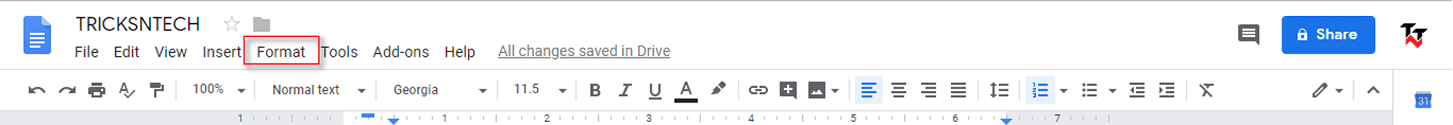 double space on google docs