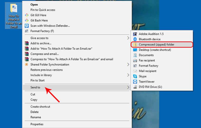 Compress folder to send via mail