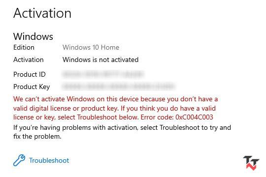 Windows 10 error 0xc004c003