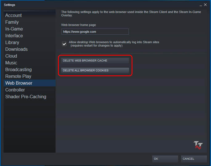 Clear Web Browser Cache Steam