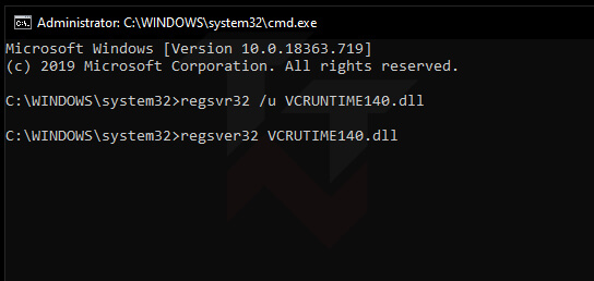 Re-register VCRUNTIME140.dll