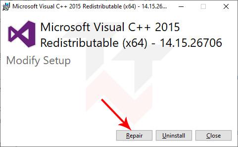 Repair MS Visual C++