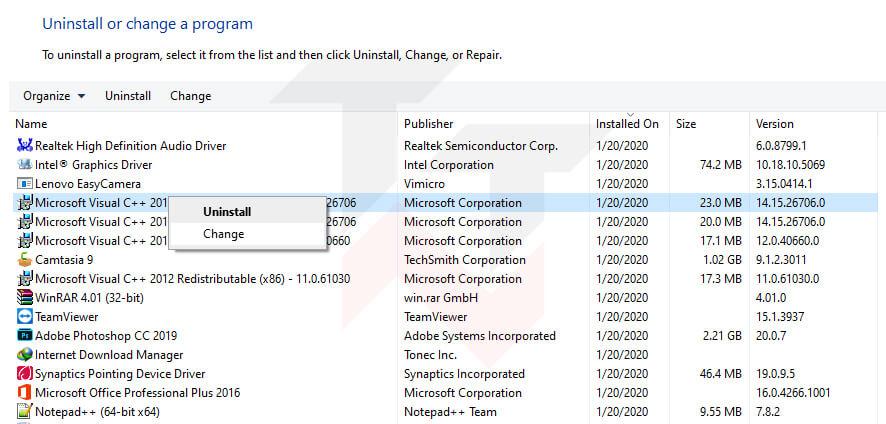 Repair Visual C++