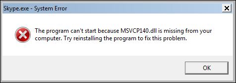 msvcp140.dll was not found